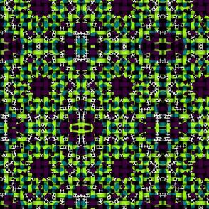 lime green purple blue kaleidoscope weave pattern