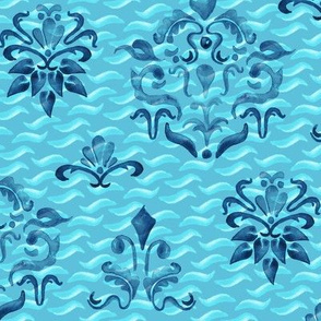 16-18G Indigo Turquoise Blue Damask Watercolor Painterly Boho_Miss Chiff Designs