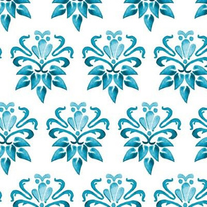 16-18F 16Nautical Blue Watercolor Damask Floral Turquoise _Miss Chiff Designs
