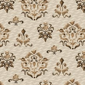6-18E 1Damask Watercolor Beige Boho Chocolate Brown  Tan Taupe Modern Farmhouse_Miss Chiff Designs