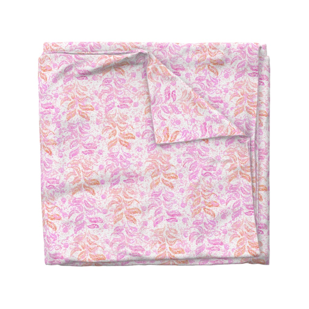 Wyandotte Duvet Cover featuring  Leaves & Waterspots Pink on White by piper_&_paige