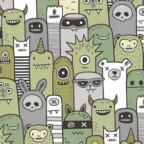 Monsters and Friends Olive Green