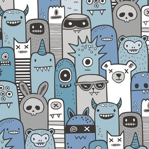 Monsters and Friends Blue Grey