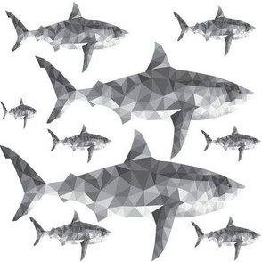Geometric Sharks Grey - Nautical - Summer