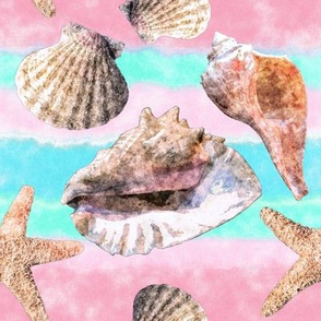 Sea Shells Pink and Blue Watercolor Stripe