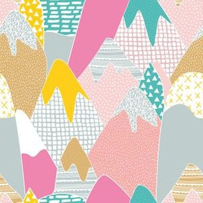 Abstract mountains color pops paint and strokes colorful spots for girls