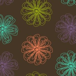 Scribble Flowers (brown and brights palette)