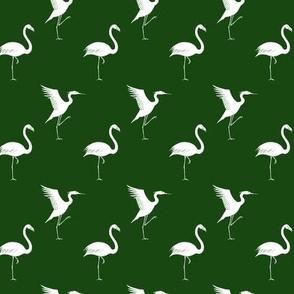 herons and flamingos green