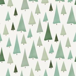 Watercolor Pine Trees on Cream
