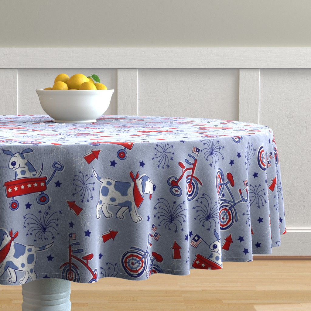 Malay Round Tablecloth featuring Dog Parade by bzbdesigner