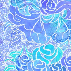 Floral-Columns  & Waterspots BLUE