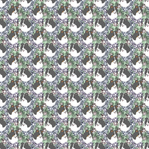 Floral Shetland sheepdog portraits B - small