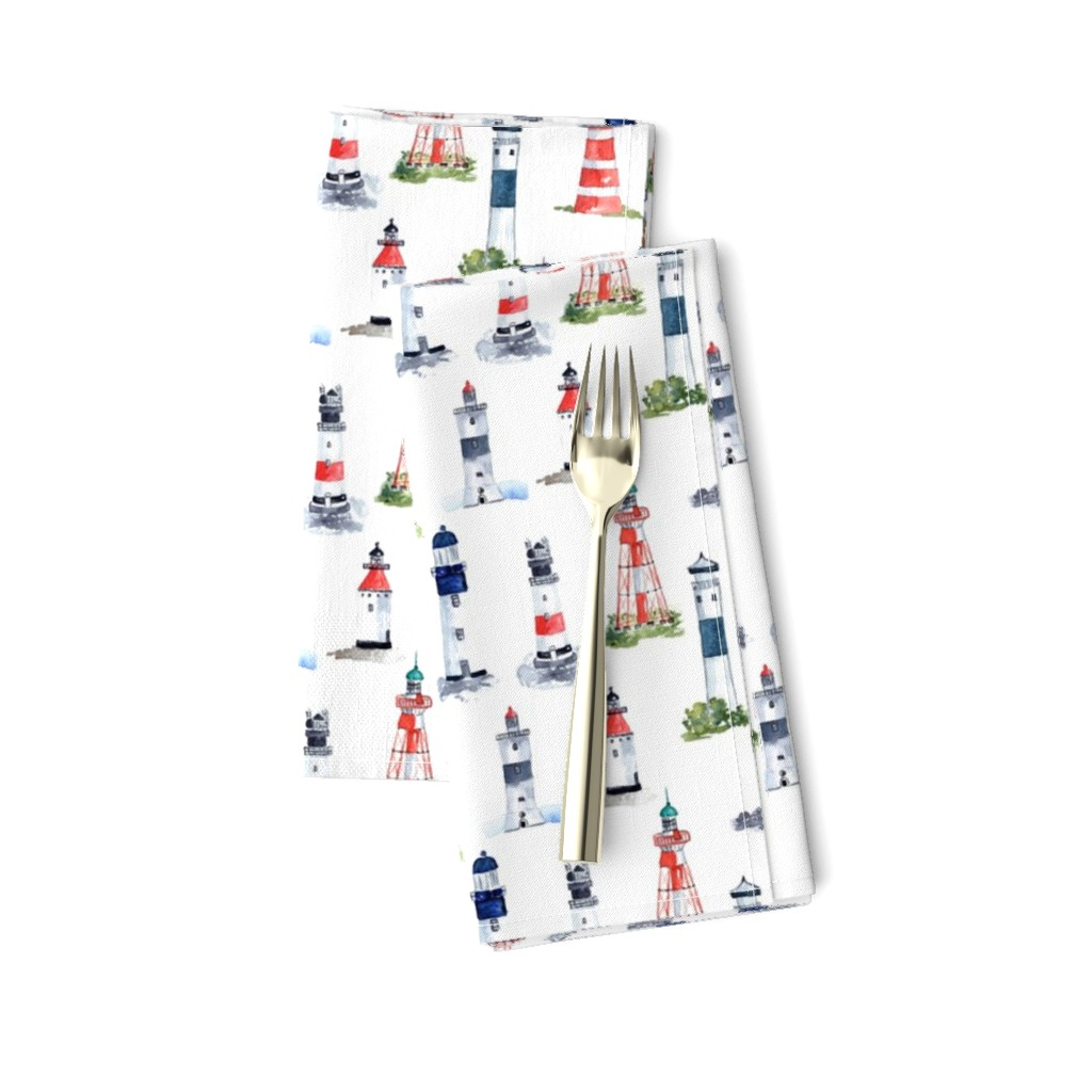 Amarela Dinner Napkins featuring Swedish Lighthouses by annahedeklint