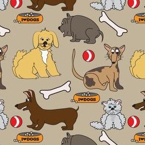 I Love Dogs Beige