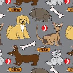 I Love Dogs Grey