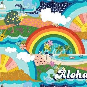 Aloha, Anuenue! (Hello, Rainbow!) || Hawaii Hawaiian tropical Polynesian rainbow palm trees flowers hibiscus plumeria sun sunset sunrise ocean diamond head waves sailboat memphis