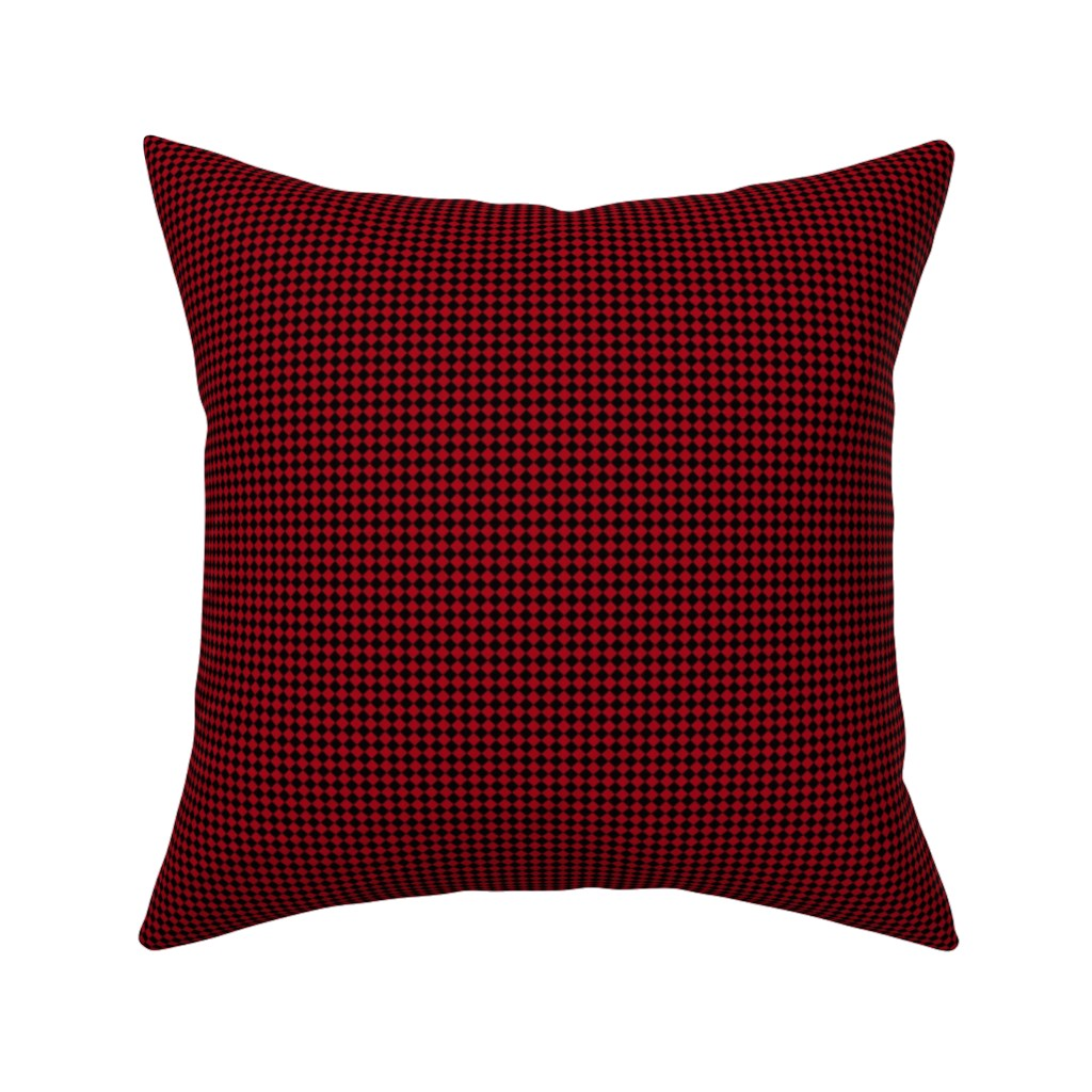 Catalan Throw Pillow featuring Quarter Inch Black and Dark Red Diamonds (Four to an Inch) by mtothefifthpower