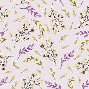 Purple Olive Branch Botanical Watercolor Leaves