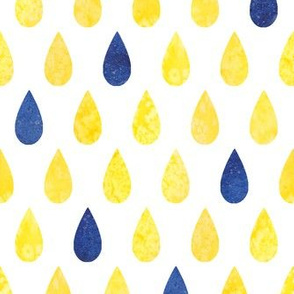 Raindrops - yellow with blue