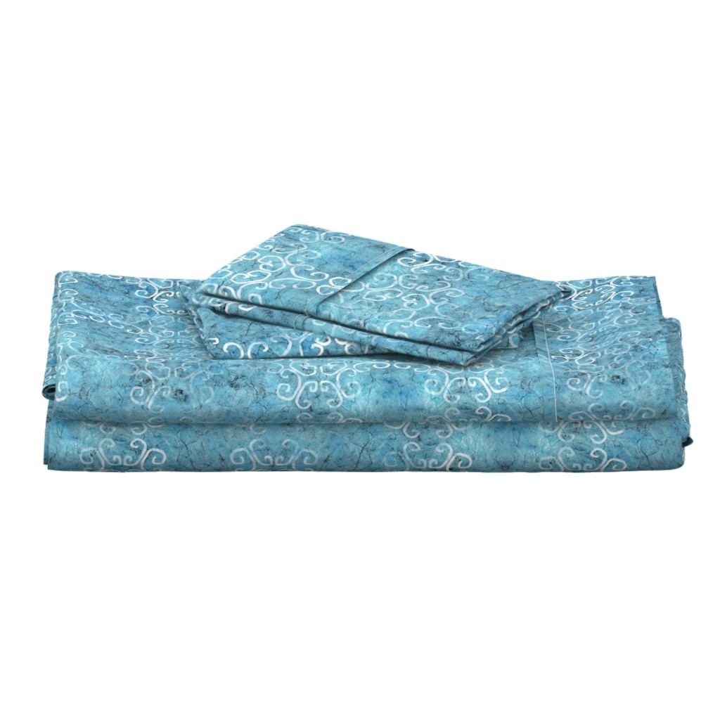 Langshan Full Bed Set featuring blue batik scroll by designed_by_debby