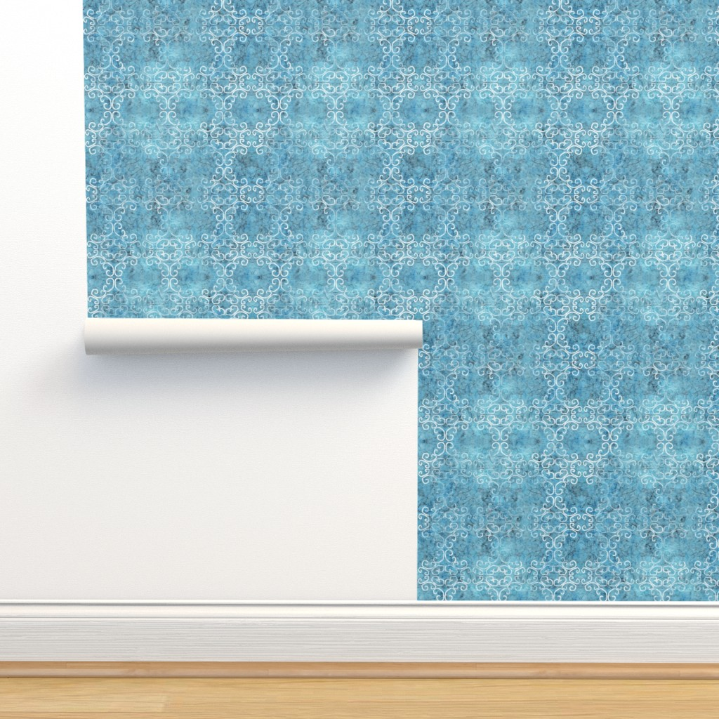 Isobar Durable Wallpaper featuring blue batik scroll by designed_by_debby