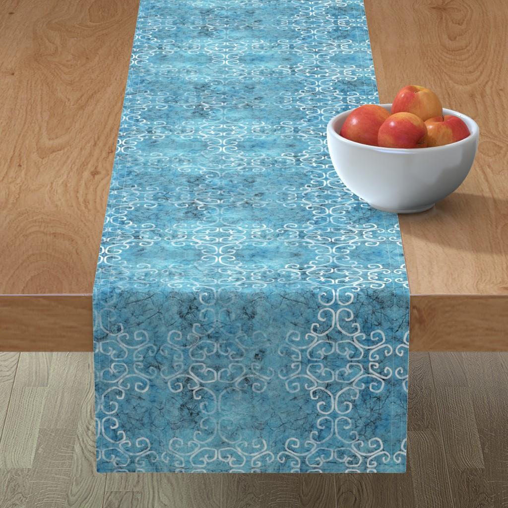 Minorca Table Runner featuring blue batik scroll by designed_by_debby
