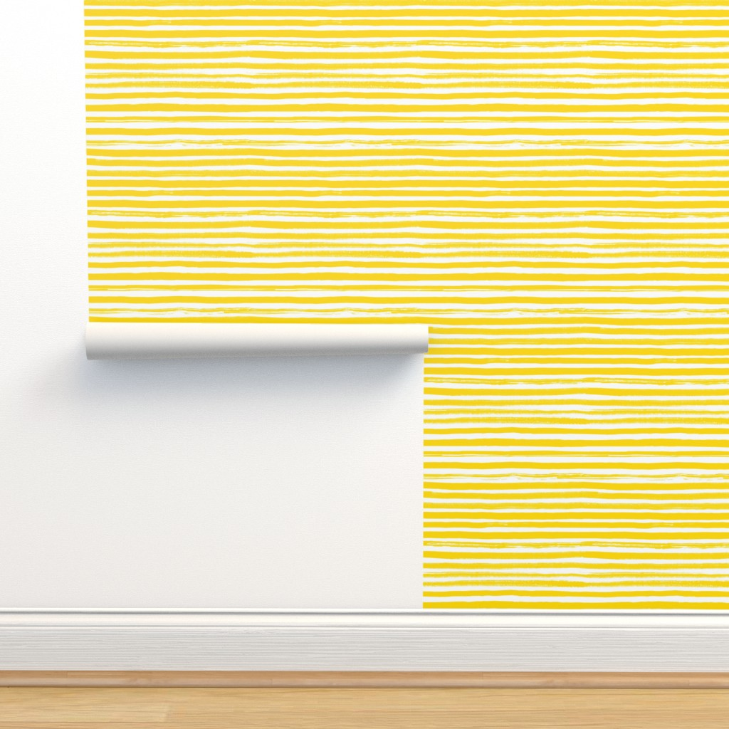 Isobar Durable Wallpaper featuring Sunny Painted Stripes by ms_hey_textildesign