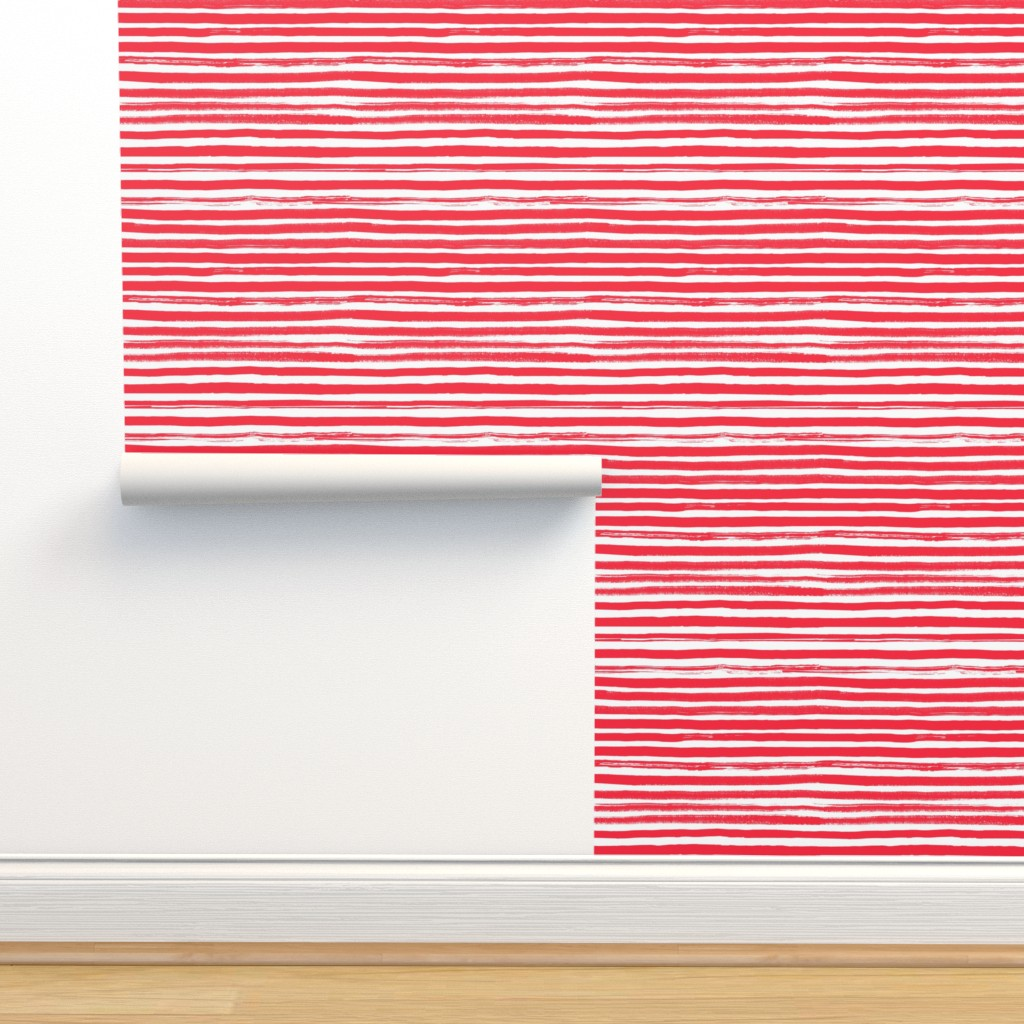 Isobar Durable Wallpaper featuring Watercolor Stripe Red by ms_hey_textildesign