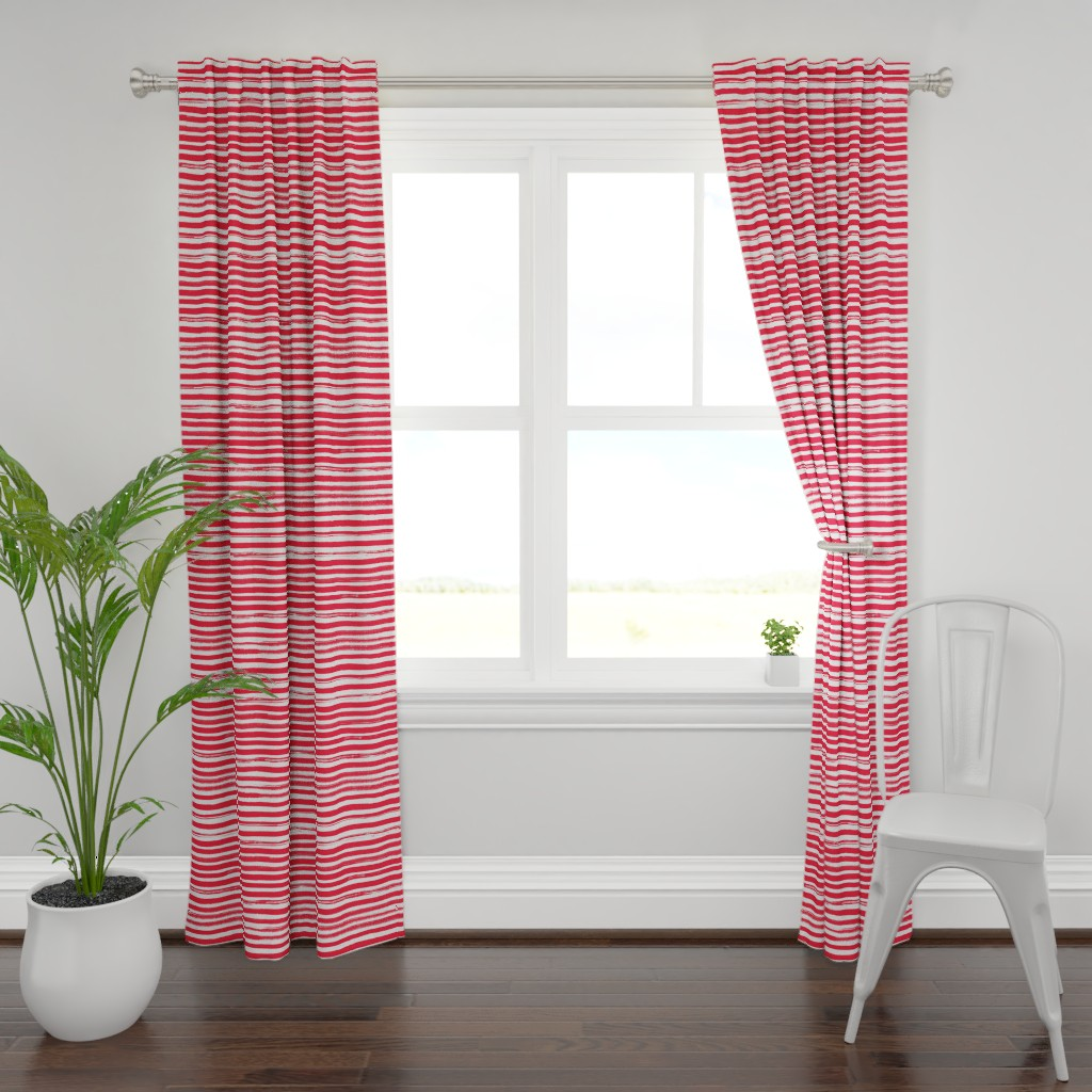 Plymouth Curtain Panel featuring Watercolor Stripe Red by ms_hey_textildesign