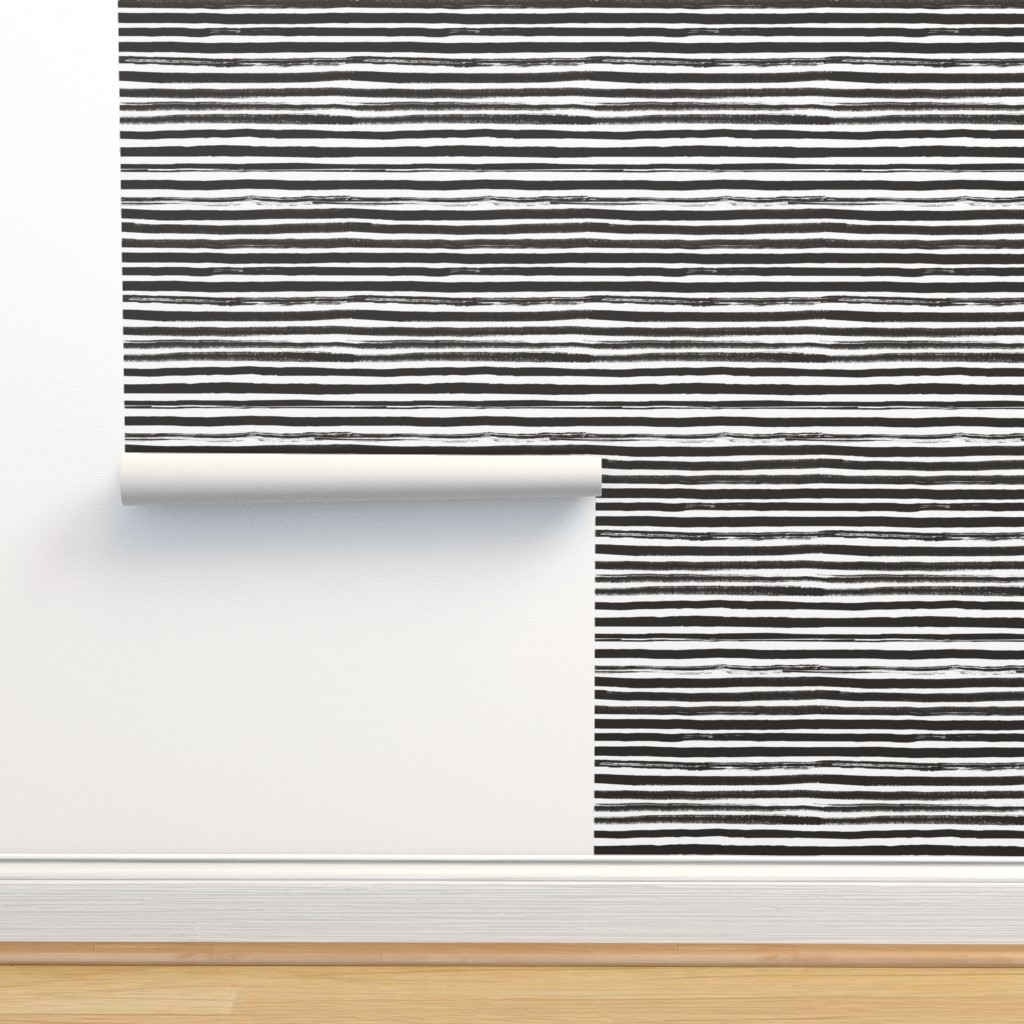 Isobar Durable Wallpaper featuring Watercolor Stripes Black and White by ms_hey_textildesign