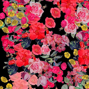 Antique Floral LARGE print // Black