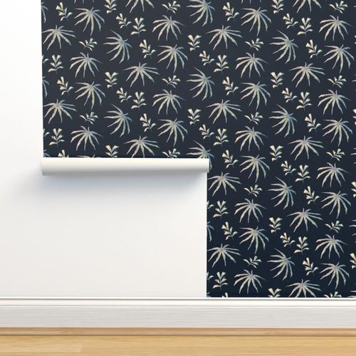 Tropical Leaves Midnight Blue Pink Spoonflower | see more neon wallpaper, neon flowers wallpaper, neon skeleton wallpaper, neon purple looking for the best neon wallpaper? spoonflower