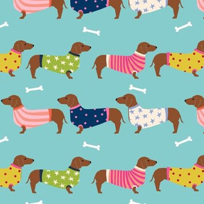 dachshund dog fabric  dogs in sweaters fabric doxie dog design - blue