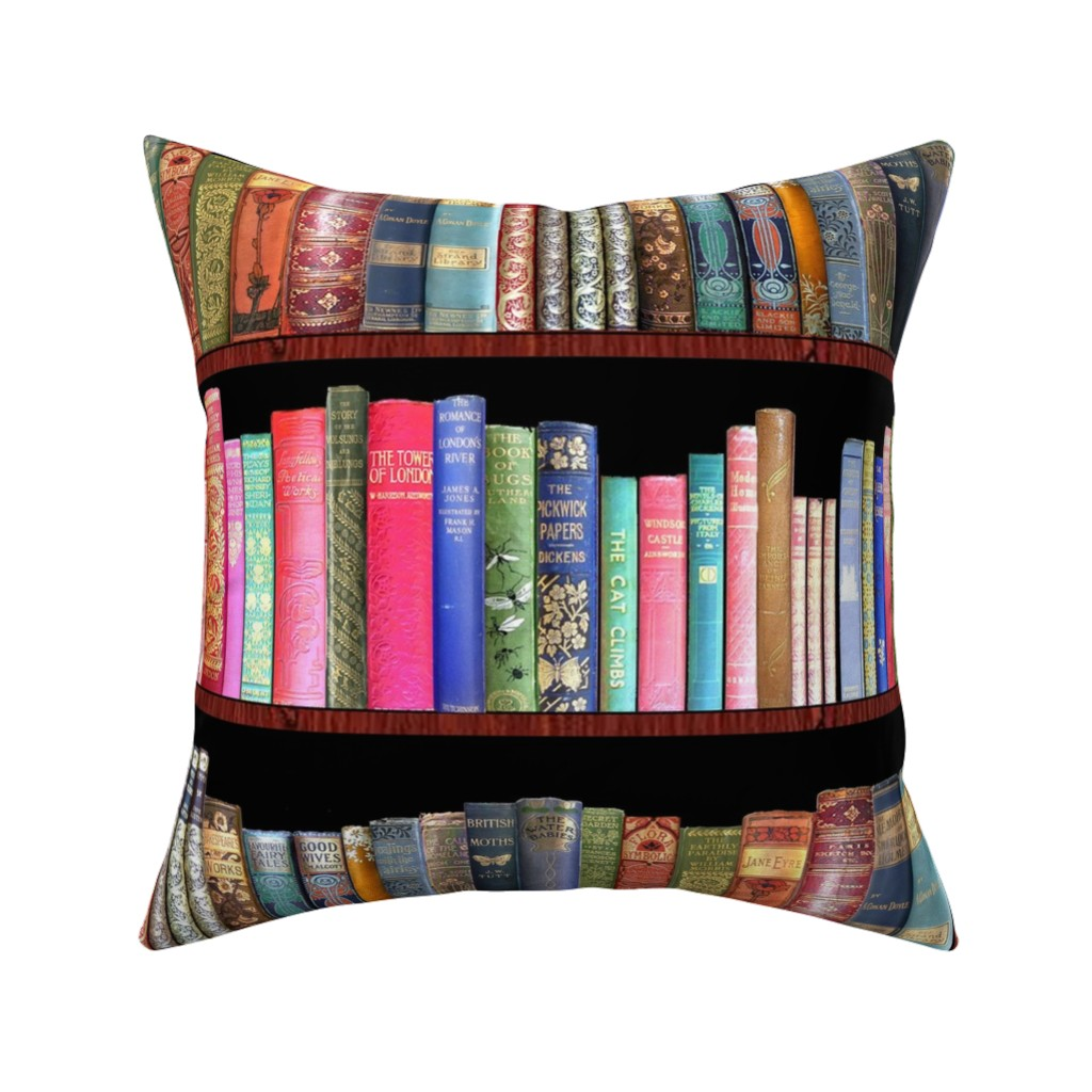 Catalan Throw Pillow featuring Antique books/ Jane Austen & more  by magentarosedesigns