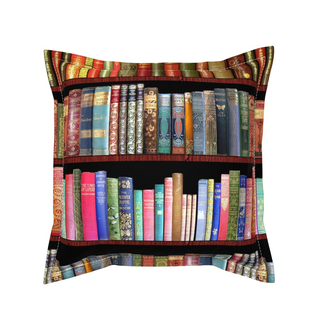 Serama Throw Pillow featuring Antique books/ Jane Austen & more  by magentarosedesigns
