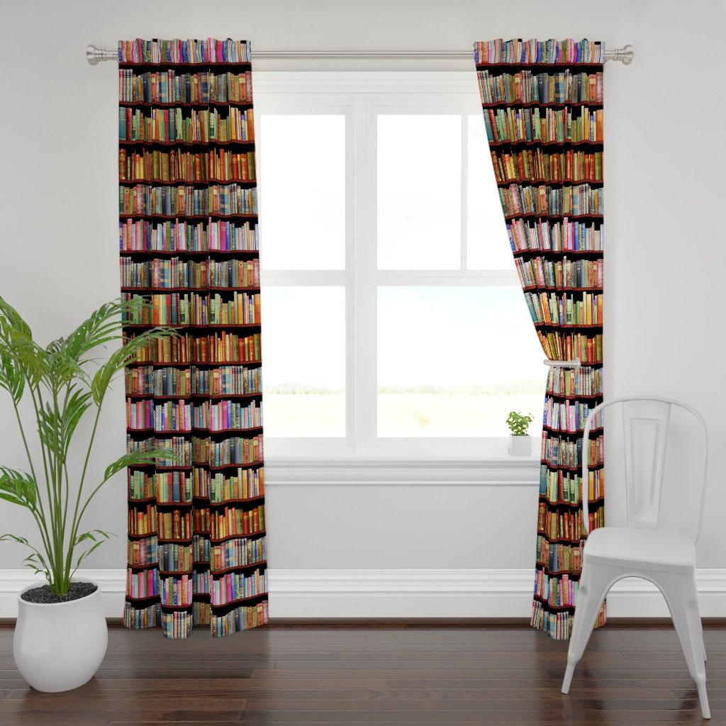 Plymouth Curtain Panel featuring Antique books/ Jane Austen & more  by magentarosedesigns