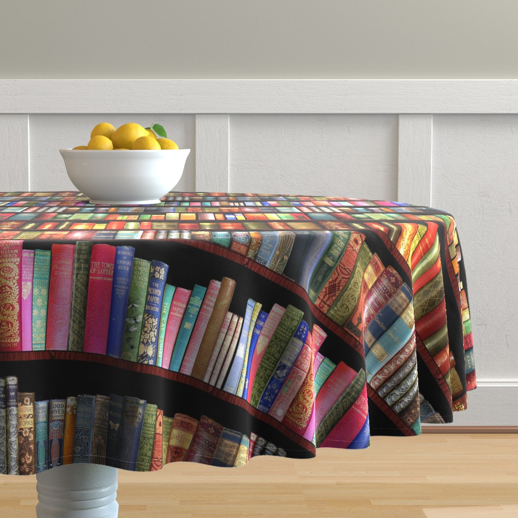 Malay Round Tablecloth featuring Antique books/ Jane Austen & more  by magentarosedesigns
