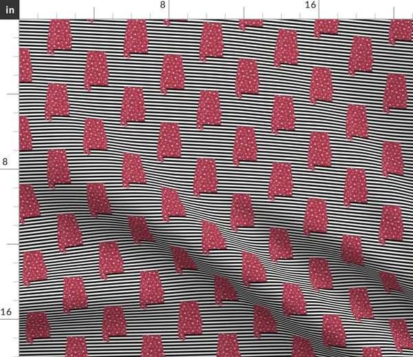 Fabric by the Yard Alabama state stripe silhouette college sports football  pattern fabric crimson grey and white