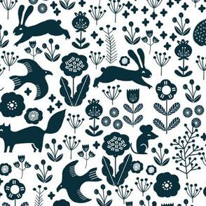 spring // navy florals spring animals woodland fabric baby nursery design