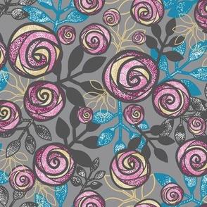 Fuchsia Roses, Gray, Blue, Yellow