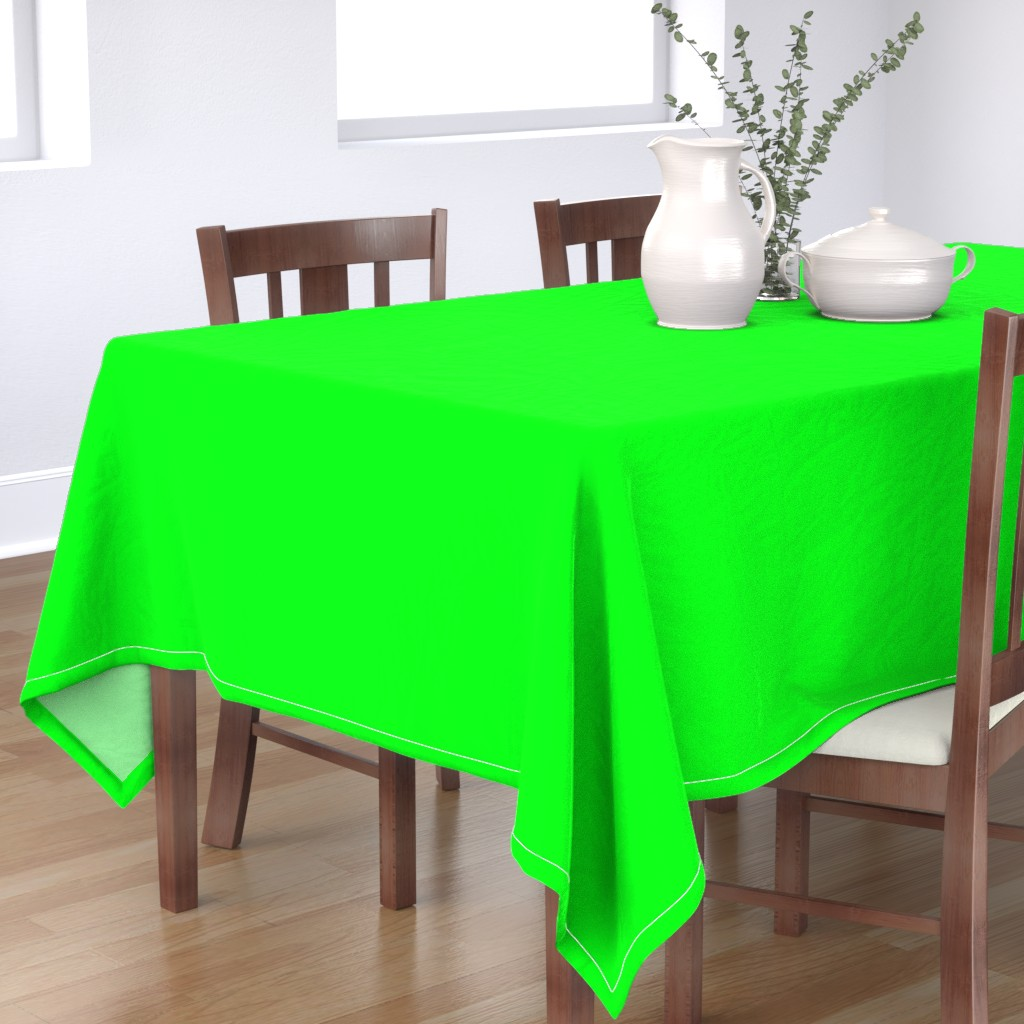 Bantam Rectangular Tablecloth featuring Neon Lime Green Solid  by paper_and_frill