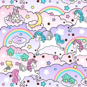 19 Pegasus winged unicorns pegacorns stars rainbows clouds trees ponds lakes teddy bears shooting cats fairy kei lolita sky skies pony ponies horses kawaii japanese inspired moon castles  colorful