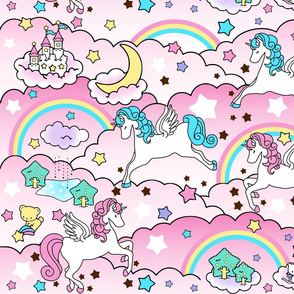 20 Pegasus winged unicorns pegacorns stars rainbows clouds trees ponds lakes teddy bears shooting cats fairy kei lolita sky skies pony ponies horses kawaii japanese inspired moon castles  colorful