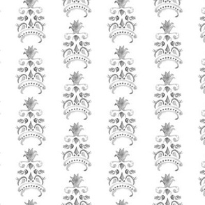 Abstract Pineapple Damask Watercolor Stripe || Neutral Home Decor  Summer Fruit Gray grey Black White _ Miss Chiff Designs
