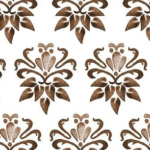 16-18C Damask Watercolor Floral || Owl Chocolate Brown Tan Taupe White  || Traditional Home Decor  Bird forest animal _ Miss Chiff Designs