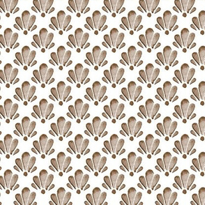 16-18B Watercolor Shells Brown Tan  || Ocean Beach Vacation Water Damask Brown White Tan