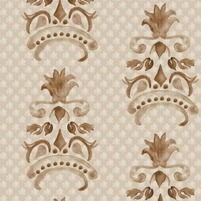 16-18A Damask Watercolor Brown Pineapple Tan || Fruit Crown Miss Chiff Designs