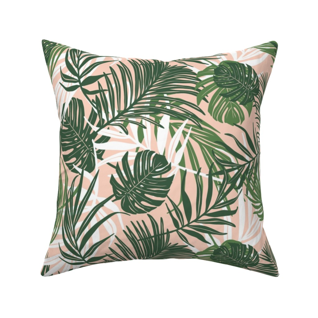 Catalan Throw Pillow featuring Hideaway - Tropical Palm Leaves Pink Blush Medium Scale by heatherdutton