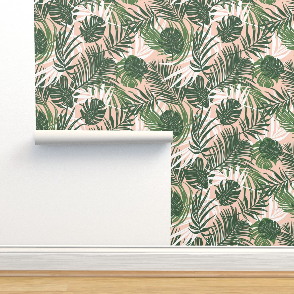 Isobar Durable Wallpaper featuring Hideaway - Tropical Palm Leaves Pink Blush Medium Scale by heatherdutton