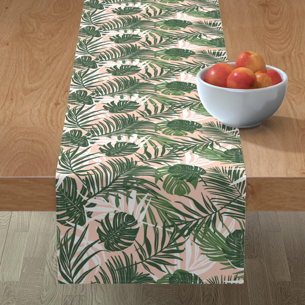 Minorca Table Runner featuring Hideaway - Tropical Palm Leaves Pink Blush Medium Scale by heatherdutton
